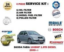 Skoda Fabia 100 BHP 1.9TD 03/2000> NEU Öl Luft Benzin Pollen 4 Filter Service