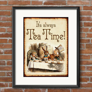Alice in Wonderland Print Decorations ~ Wedding Decor Mad Hatter Tea Time 238