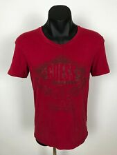 Guess Slim Fit Big Logo Red Muscle V-Neck Cotton T-Shirt Shirt Tee Size M