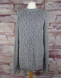 SHORE LEAVE grey cotton blend cable knit long jumper large