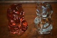"TWO FENTON SITTING BEARS - PINK & CLEAR GLASS - 3 1/2"" TALL"