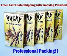 glico POCKY ALMOND CRUSH Milk Chocolate Sticks JapaneseBiscuit Snack Nut 5 Boxes