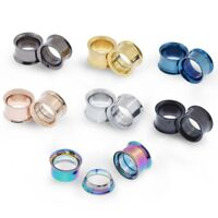 """2pcs Simple Stainless Steel Ear Tunnels Plugs Flesh Double Flared Gauges 2g-3/4"""""""