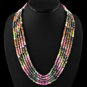 511.85 CTS NATURAL 5 LINE WATERMELON TOURMALINE FACETED BEADS NECKLACE - GEM EDh