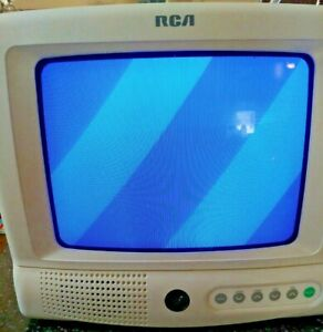"""RCA E09344 9"""" CRT Television TV With Remote White Gaming RV Travel"""