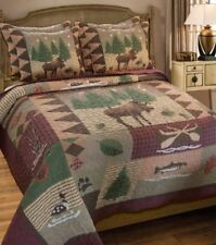 New! Timberline Country Moose Lodge Cabin FULL / QUEEN Quilt SET Shams & Pillow