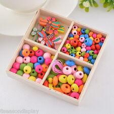 5Box Colorful Wood Beads Kit Dragonfly Necklace Bracelet DIY Kids Craft
