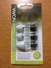 3 Xmas Light Outdoor Cone Fuse Bulbs, Noma L3 Pifco 6v 1.98w MES E10 Screw Lamps
