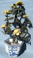 19TH C. CHINESE POT, SPINACH JADE LEAVES & YELLOW ROSES