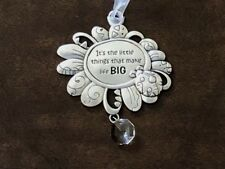 """Its the Little Things That Make Life BIG"" Flower Ladybug Rear View Mirror Charm"