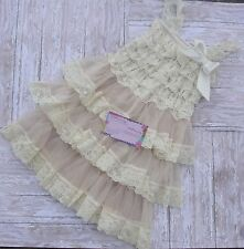 Champagne Lace Dress, Wedding - Rustic - Country Flower Baby Girl Newborn - 6Mth