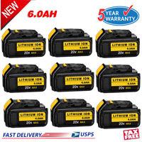 20X 6.0Ah Battery For DEWALT DCB205-2 XR 20V Max Lithium Ion XR DCB206-2 DCB200