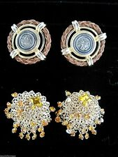 Vintage Lot of 2 Round Unusual Retro Gold Tone Clip Earrings