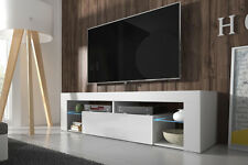 Hugo - Meuble TV moderne - 140 cm - Blanc, Noir, Gris - LED bleue optionnelle