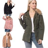 Women's Military Anorak Safari Jacket with Pockets & Hood Coats (S-L)