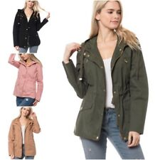 Women's Military Anorak Safari Jacket with Pockets & Hood Coats (S-L)