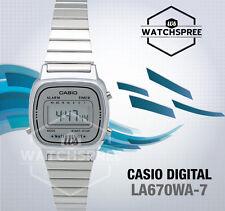 Casio La-670wa-7d Ladies Digital Watch Steel Band Stainless Silver Alarm Classic