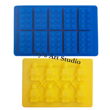 Lego-like Brick Ice Cube Tray&Minifigure Man  Chocolate Cake Silicone Mould Mold