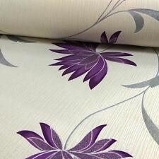 Floral Papier Peint Fleur Paillettes Argent Crème Violet Gaufré Vinyle Zoe Belgravia