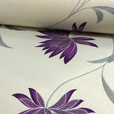 Floral Wallpaper Flower Glitter Silver Cream Purple Embossed Vinyl Zoe Belgravia