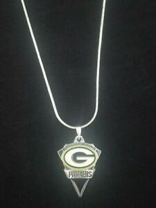 Green Bay Packers Necklace Pendant on Sterling Silver Chain NFL Football