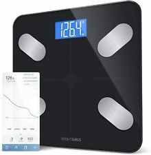 Smart Scale Bluetooth Connected Body Weight Bathroom Fat Muscle Mass Water Black