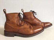 CHARLES TYRWHITT TAN LEATHER 'McMGIL' LACE-UP ANKLE BOOTS - SIZE 9G