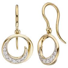 Ohrhänger rund 333 Gold Gelbgold 16 Zirkonia Ohrringe Goldohrringe Hänger Damen
