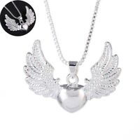 Women Gift 925 Silver Heart Angel Wing Charm Necklace Pendant Jewelry