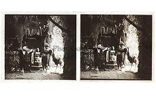 Scène théâtrale Caverne Théâtre Photo Plaque stéréo verreStereoview Vintage