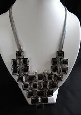 BLING / GOTH BLACK CRYSTAL SQUARE WITH DIAMONTE SILVER TONE DROP NECKLACE