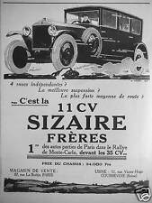 PUBLICITÉ VOITURE SIZAIRE FRÈRES C'EST LA 11 CV 1ÈRE DANS LE RALLYE MONTE CARLO