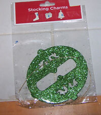 GREEN Glitter Ornament STOCKING Charm NIP