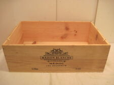 OLD WOOD-WOODEN CHATEAU MAISON BLANCHE MEDOC CRU BOURGEOIS WINE CRATE BOX