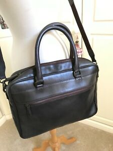 JOHN LEWIS BROWN LEATHER LAPTOP BRIEFCASE BAG.