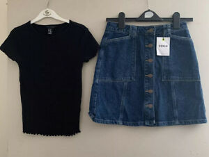 BNWT New Look Denim Skirt And Used Black Top Size 8