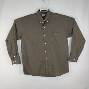 Lacoste Mens Button Up Dress Shirt Adult Brown Striped Crocodile Size 44 XL