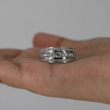 Mens 14k White Gold Finish Round Cut Diamond Ring Wedding Band 2.00 Carat