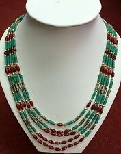 Afghan Natural Turquoise & Coral Beads Necklace Multi Strand Vintage Handmade
