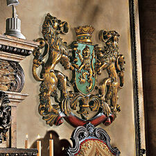 Mythological Beasts Heraldic Royal Lion Coat of Arms Hand Painted Wall Sculpture