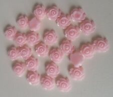 50 Resin Flower Cabochons 7x3mm SMALL & DAINTY Pink Flowers ~ Flatbacked