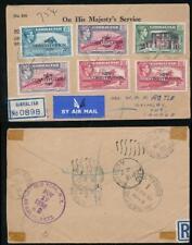 GIBRALTAR to CANADA REGISTERED 1950 P.O ENV OVERPRINTS SET NIAGARA FALLS TRANSIT