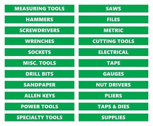 Toolbox Organizational Magnetic Labels By DCM Solutions