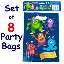 8 x Blue Boys Monster Alien Design Children's Kids Birthday Party Loot Bags