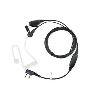 Covert Acoustic Tube 2 Pin Earpiece Headset for Mitex Radio with HQ PTT Mic