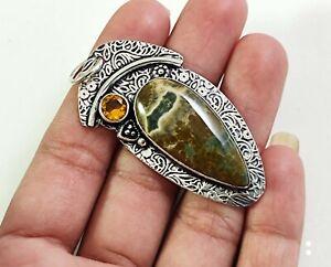 Turtella Jasper Citrine Gemstone Handmade Fashion Jewelry Silver Pendant P-1149