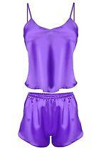 DKaren Karen Sexy Satin Nightwear Top And Boxer Shorts Set - Violet Size XL UK14
