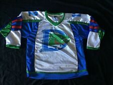 Vintage CHL Denver Cutthroats White Blue Defunct Ice Hockey Jersey Sz Youth XL