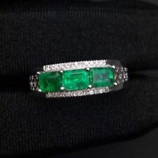 Gorgeous Natural Colombian Emerald and Diamond Ring, Sterling Silver 925k