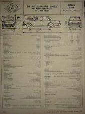 rare SIMCA 1301  /  FICHE TECHNIQUE L'EXPERT AUTOMOBILE